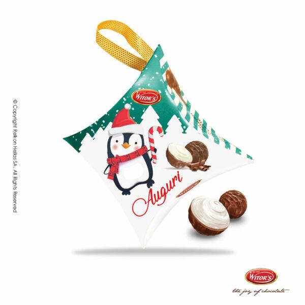 Witor's συσκευασία σε διάφορα σχήματα με τυλιχτά σοκολατάκια από σοκολάτα γάλακτος γεμισμένα με λαχταριστή κρέμα γάλακτος. Το τέλειο δώρο για αυτά τα Χριστούγεννα.