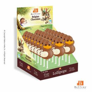 Belfine display με φιγούρες γλειφιτζούρι από σοκολάτα γάλακτος. Ιδανικό για Πάσχα.