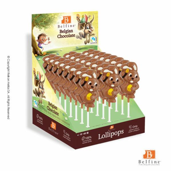 Belfine display με φιγούρες γλειφιτζούρι από σοκολάτα γάλακτος σε σχέδιο λαγουδάκι. Ιδανικό για Πάσχα.