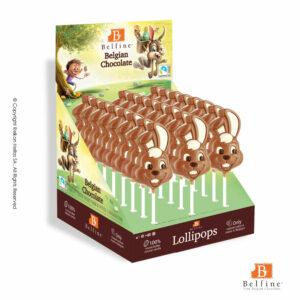 Belfine display με φιγούρες γλειφιτζούρι από σοκολάτα γάλακτος σε σχέδιο λαγουδάκι με διπλωμένο αυτί. Ιδανικό για Πάσχα.