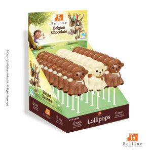 Belfine display με φιγούρες γλειφιτζούρι από σοκολάτα γάλακτος σε σχέδιο προβατάκι. Ιδανικό για Πάσχα.