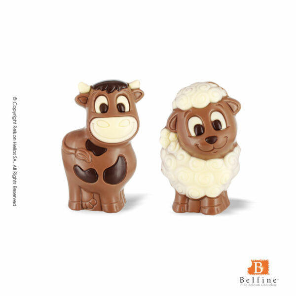 Belfine φιγούρες από σοκολάτα γάλακτος σε δύο διαφορετικά σχέδια προβατάκι και αγελαδίτσα. Ιδανικό για Πάσχα.