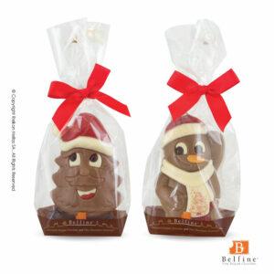 Belfine φιγούρες απο σοκολάτα γάλακτος σε σχήματα χιονάνθρωπου και δέντρου. Ιδανικό δώρο για τα Χριστούγεννα.