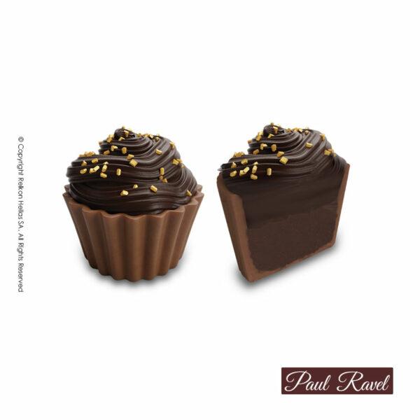 Σοκολατάκια cupcakes με βάση απο σοκολάτα γάλακτος και γέμιση γκανάζ bitter και τελείωμα κρέμα απο σοκολάτα υγείας
