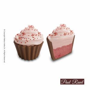 Σοκολατάκια cupcakes με βάση απο σοκολάτα γάλακτος και γέμιση γκανάζ φράουλας και τελείωμα απο σοκολάτα φράουλας