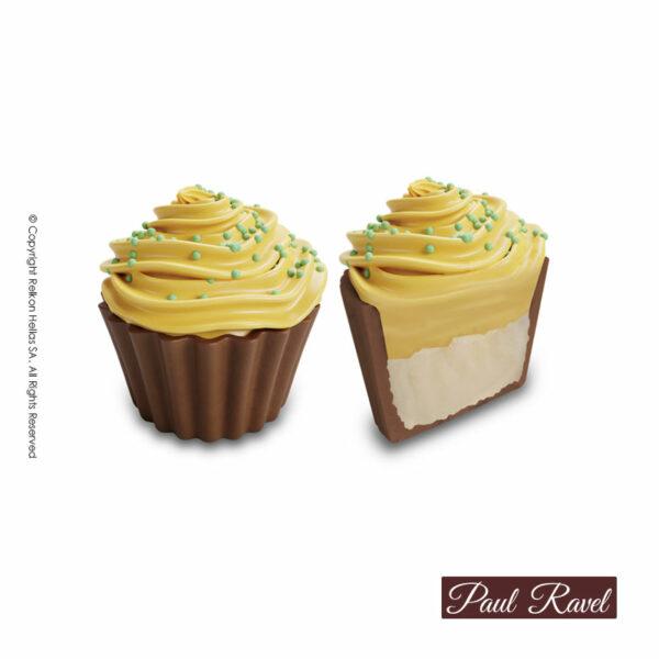 Σοκολατάκια cupcakes με βάση απο σοκολάτα γάλακτος και γέμιση από ελαφριά κρέμα λεμόνι και τελείωμα απο λευκή σοκολάτα αρωματισμένη με λεμόνι