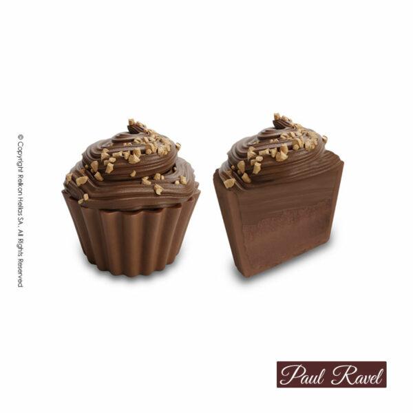 Σοκολατάκια cupcakes με βάση απο σοκολάτα γάλακτος και γέμιση από απαλή γκανάζ με crispies και τελείωμα απο σοκολάτα γάλακτος