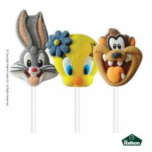 Looney Tunes marshmallow lollipops σε σχέδιο Bugs bunny, Tweety και Taz με γεύση φράουλα.