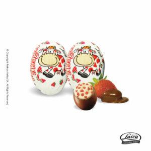 Laica πασχαλινά αυγουλάκια με σοκολάτα γάλακτος, γέμιση κρέμα από ανθόγαλα με γεύση φράουλα και crispies. Ιδανικό για Πάσχα.