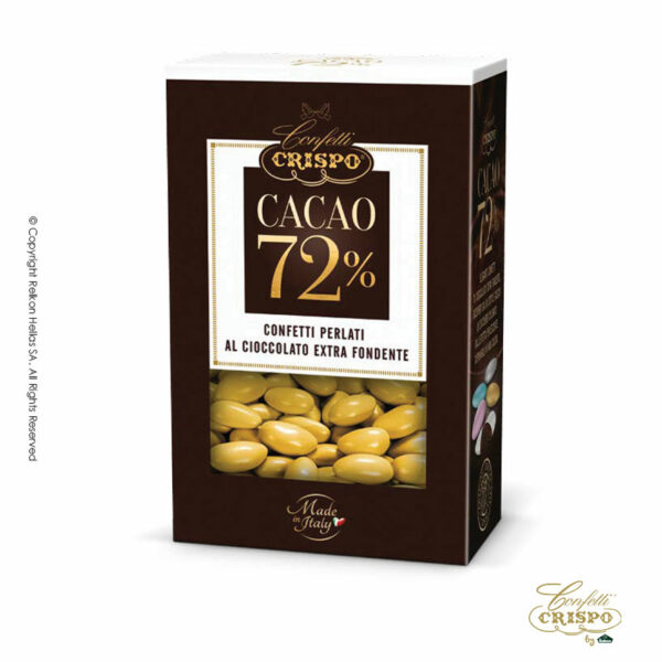 GLUTEN FREE περλέ χρυσό με σοκολάτα υγείας 72% και λεπτή επίστρωση ζάχαρης σε χρυσό χρώμα. Ιδανικά για γάμο, candy bar και events.