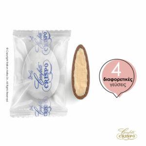 Safe pack ciocopassion διπλή σοκολάτα, πυρήνας λευκής και επικάλυψη γάλακτος, με λεπτή επίστρωση ζάχαρης και 4 ανάμικτες γεύσεις σε συσκευασία. Ιδανικό για γάμους, βαπτίσεις και candy bar. Γεύσεις: Φράουλα, Τριπλή σοκολάτα, Κρέμα λεμόνι, Κρεμ Μπρουλέ.