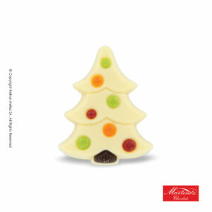Martinez φιγούρα απο λευκή σοκολάτα σε σχέδιο δέντρου με πολύχρωμες διακοσμητικές μπάλες. Ιδανικό για τα Χριστούγεννα.