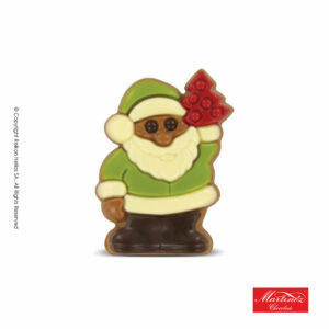 Martinez φιγούρα απο σοκολάτα γάλακτος σε σχήμα Αγ.Βασίλη με πράσινη στολή. Ιδανικό για τα Χριστούγεννα.