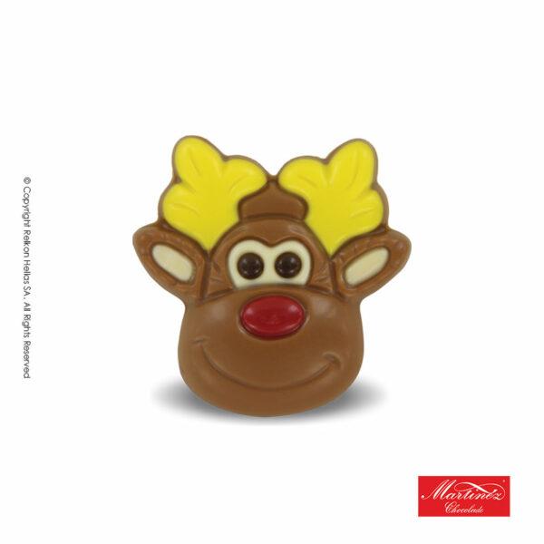 Martinez φιγούρα απο σοκολάτα γάλακτος σε σχήμα τάρανδου με κίτρινα κέρατα. Ιδανικό για τα Χριστούγεννα.