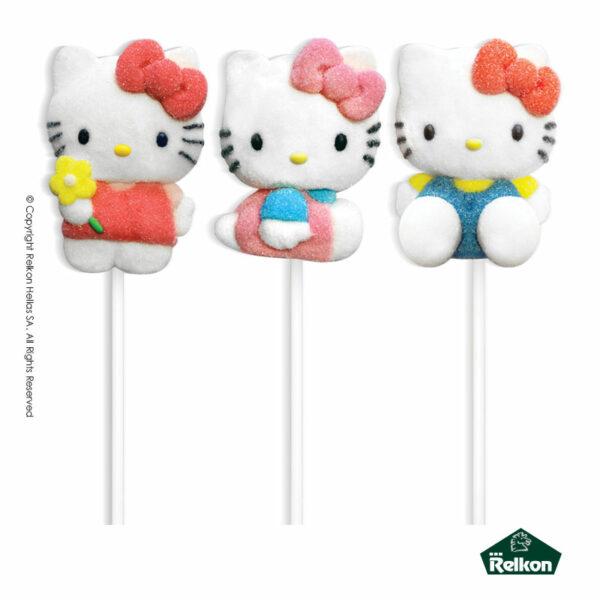 Hello Kitty marshmallow lollipops σε διάφορα σχέδια με γεύση φράουλα.