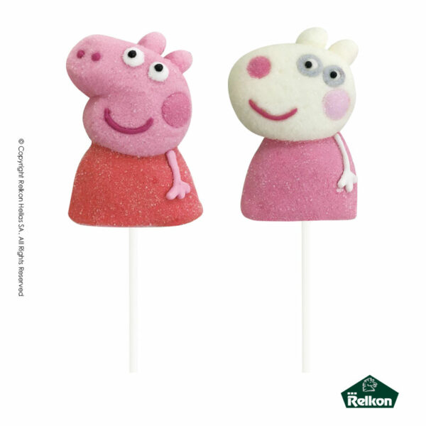 Peppa Pig marshmallow lollipops σε σχέδια Peppa και Suzzy με γεύση φράουλα.