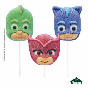 PJ Masks marshmallow lollipops σε σχέδια Catboy, Owlette και Gekko με γεύση φράουλα.