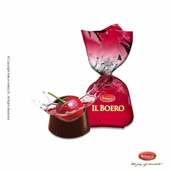 Σοκολατάκια υγείας (τουλάχιστον 45% κακάο) με ολόκληρο κεράσι και λικέρ
