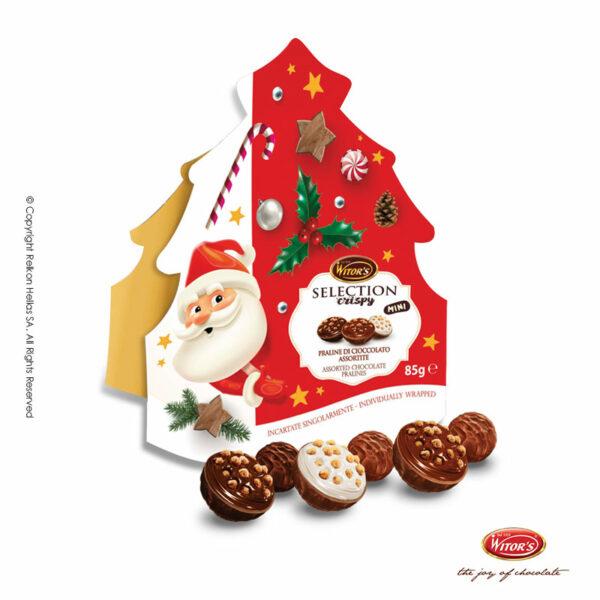 Witor's συσκευασία σε σχήμα χριστουγεννιάτικο δέντρο με τυλιχτά σοκολατάκια σε 3 διαφορετικούς συνδυασμούς (κρέμα φουντουκιού, κρέμα κακάο & κρέμα γάλακτος). Το τέλειο δώρο για αυτά τα Χριστούγεννα.