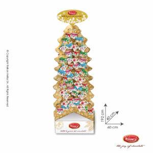 Witor's stand προβολής σε σχήμα χριστουγεννιάτικο δέντρο με τυλιχτά σοκολατάκια από σοκολάτα γάλακτος γεμισμένα με λαχταριστή πραλίνα φουντουκιού.