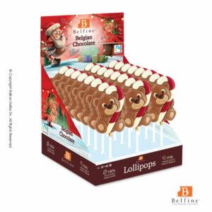 Belfine display απο γλειφιτζούρια σοκολάτας γάλακτος και λευκής σε σχήμα αρκουδάκι που κρατάει ενα μπαστουνάκι.