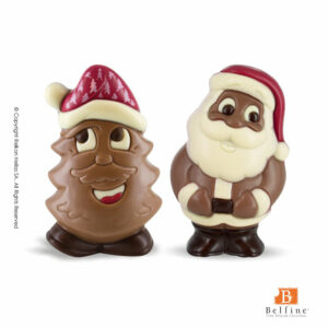 Belfine φιγούρες απο σοκολάτα γάλακτος σε σχήματα Αγ.Βασίλη και δέντρου. Ιδανικό δώρο για τα Χριστούγεννα.