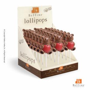 Belfine display με σοκολατένια γλειφιτζούρια απο σοκολάτα γάλακτος σε σχέδιο αρκουδάκι με καρδιά. Ιδανικό για την γιορτή του Αγ.Βαλεντίνου.