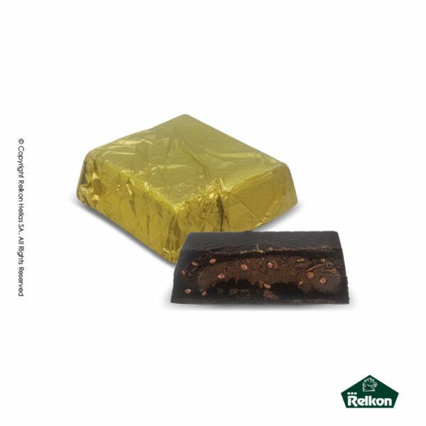 Σοκολατένια τετράγωνα κεράσματα υγείας με γέμιση πραλίνας αμυγδάλου και crispies