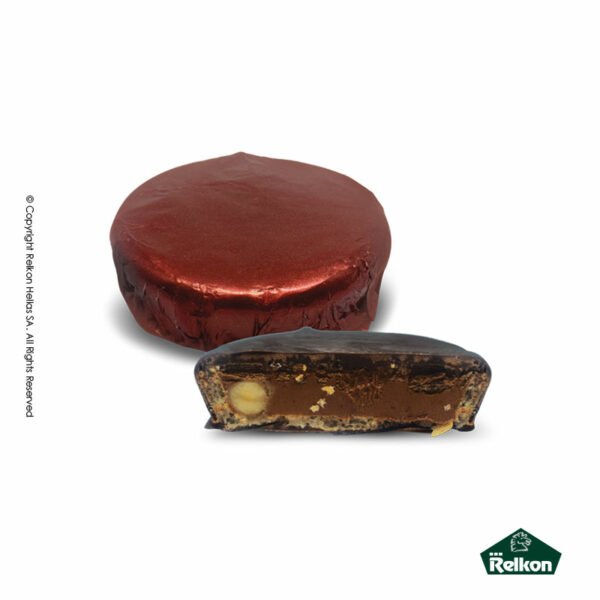 Σοκολατένια στρογγυλά κεράσματα υγείας με γέμιση πραλίνα κομμάτια φουντουκιού