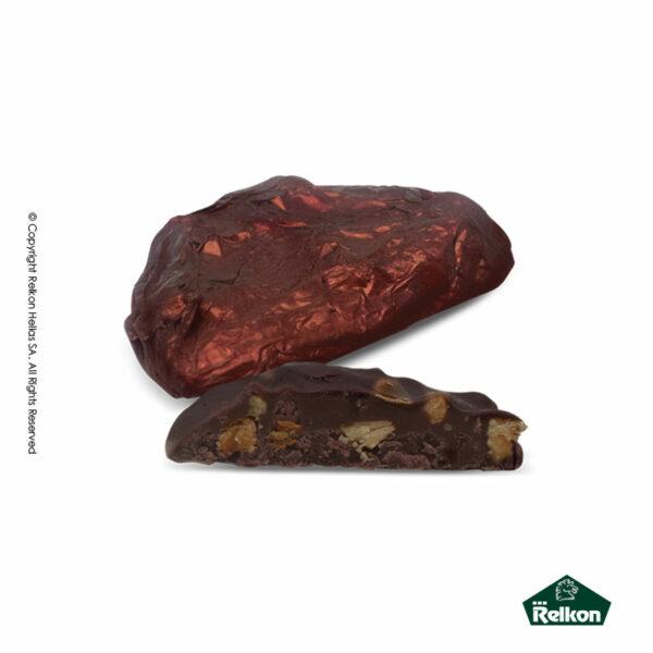 Σοκολατένια βραχάκια κεράσματα υγείας με γέμιση πραλίνας και κομματάκια ξηρών καρπών
