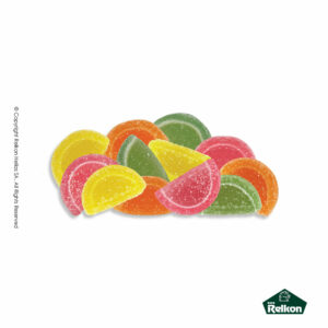 Mini φέτες ζελέδες σε διάφορες γεύσεις: μήλο, φράουλα, πορτοκάλι και λεμόνι. Ιδανικά για παιδικά party και events.