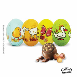 Laica πασχαλινά αυγουλάκια από σοκολάτα γάλακτος με γέμιση πραλίνας φουντουκιού και τραγανά δημητριακά (crispies) με διάφορες φιγούρες ζώων στο τύλιγμα. Ιδανικό για Πάσχα.
