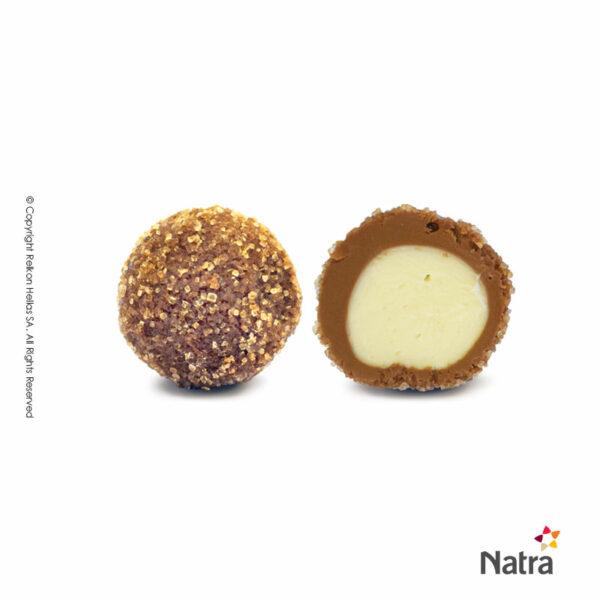 Τρούφες γάλακτος με πυρήνα creme brulee και επικάλυψη κρυσταλλικής ζάχαρης.