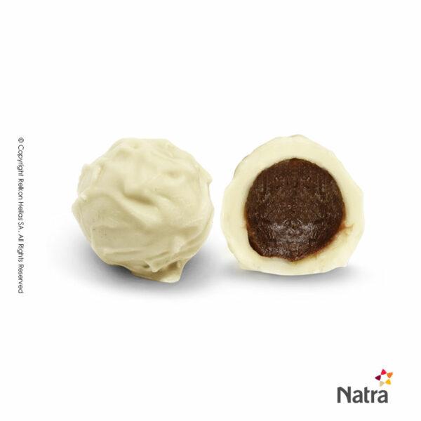 Τρούφες λευκής σοκολάτας και γέμιση πραλίνα με σαμπάνια
