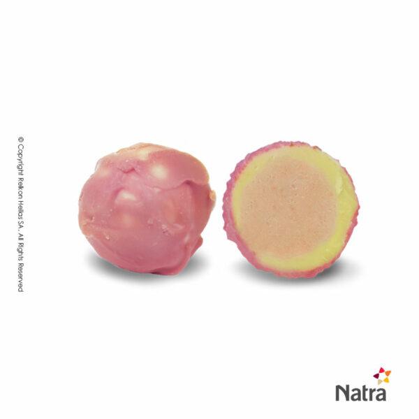 Τρούφες λευκής σοκολάτας με γέμιση πραλίνας και γεύση φράουλας