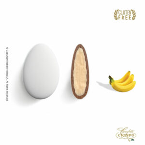 GLUTEN FREE Ciocopassion διπλή σοκολάτα, πυρήνας λευκής και επικάλυψη γάλακτος, με λεπτή επίστρωση ζάχαρης και γεύση Μπανάνα. Ιδανικό για γάμους, βαπτίσεις και candy bar.