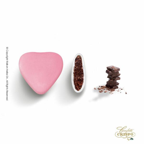 Σοκολάτα υγείας και λεπτή επίστρωση ζάχαρης σε σχήμα καρδιάς σε ρόζ χρώμα. Ιδανικά για γάμο, βάπτιση, candy bar και event.