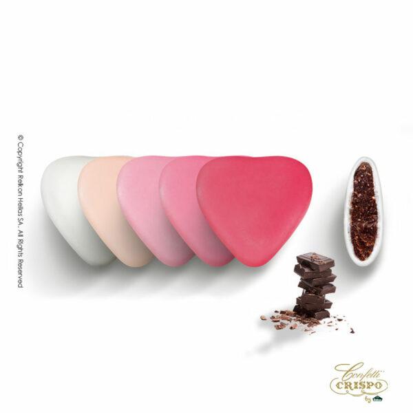 Σοκολάτα υγείας και λεπτή επίστρωση ζάχαρης στις αποχρώσεις του ρόζ σε σχήμα καρδιάς.
