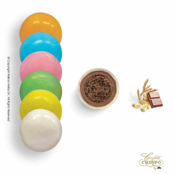 Πολύχρωμα με crispies δημητριακά με κακάο, επικάλυψη διπλής σοκολάτας (γάλακτος και λευκής) με λεπτή επίστρωση ζάχαρης. Ιδανικά για candy bar, parties και events.