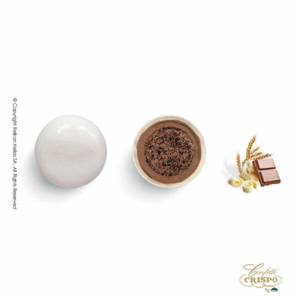 Λευκά με crispies δημητριακά με κακάο, επικάλυψη διπλής σοκολάτας (γάλακτος και λευκής) με λεπτή επίστρωση ζάχαρης. Ιδανικά για candy bar, parties και events.