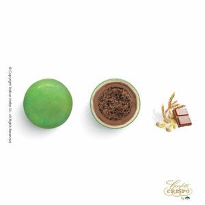 Πράσινα με crispies δημητριακά με κακάο, επικάλυψη διπλής σοκολάτας (γάλακτος και λευκής) με λεπτή επίστρωση ζάχαρης. Ιδανικά για candy bar, parties και events.