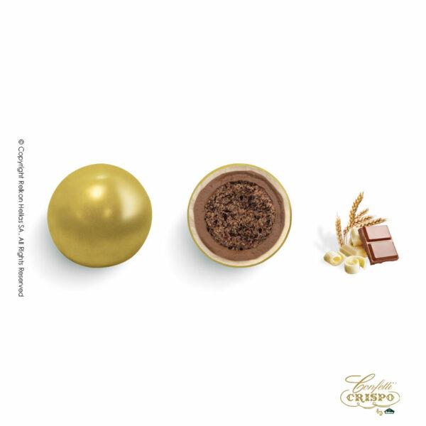 Χρυσά με crispies δημητριακά με κακάο, επικάλυψη διπλής σοκολάτας (γάλακτος και λευκής) με λεπτή επίστρωση ζάχαρης. Ιδανικά για candy bar, parties και events.