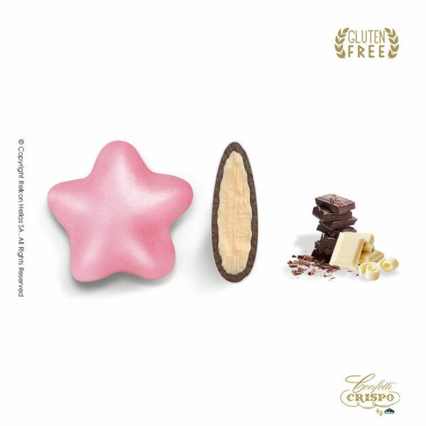 GLUTEN FREE Διπλή σοκολάτα, πυρήνας λευκής και επικάλυψη υγείας, με λεπτή επίστρωση ζάχαρης σε ρόζ χρώμα και σχήμα αστεράκι. Ιδανικό για γάμο, βάπτιση candy bar και events.