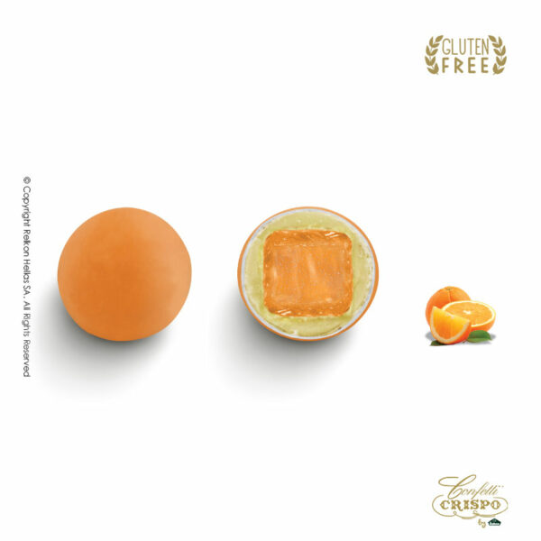 GLUTEN FREE Maxtris σε σχήμα στρογγυλού βότσαλου, γεύση πορτοκάλι με επικάλυψη λευκής σοκολάτας και πορτοκαλί χρώμα. Ιδανικό για γάμο, βάπτιση, candy bar και events.