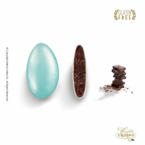 GLUTEN FREE περλέ γαλάζιο με σοκολάτα υγείας 72% και λεπτή επίστρωση ζάχαρης σε χρυσό χρώμα. Ιδανικά για γάμο, candy bar και events.