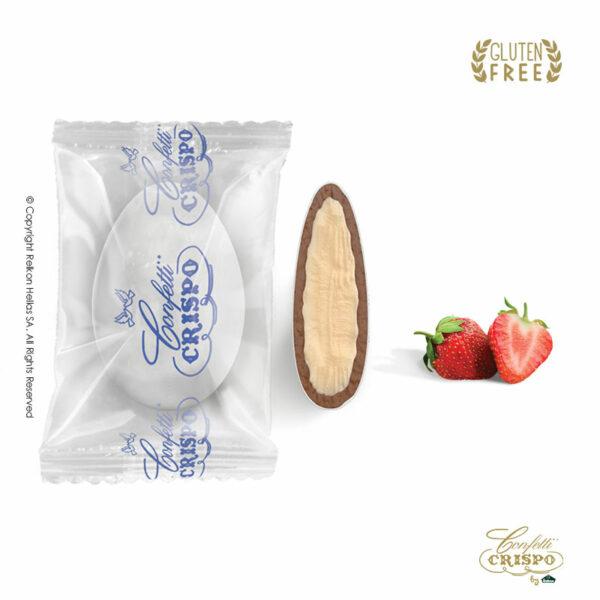 GLUTEN FREE Safe pack ciocopassion διπλή σοκολάτα, πυρήνας λευκής και επικάλυψη γάλακτος, με λεπτή επίστρωση ζάχαρης και γεύση Φράουλα. Ιδανικά για γάμο, βάπτηση, candy bar και events.