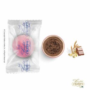 Safe pack, ρόζ με crispies δημητριακά με κακάο, επικάλυψη διπλής σοκολάτας (γάλακτος και λευκής) με λεπτή επίστρωση ζάχαρης. Ιδανικά για candy bar, parties και events.