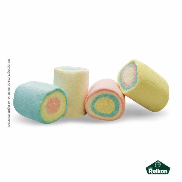 Marshmallows σε σχήμα κυλίνδρου πολύχρωμα. Ιδανικά για παιδικά party, βάπτιση και events.