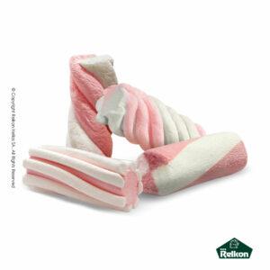 Marshmallows σε σχήμα κυλίνδρου και στρυφογυριστό σχέδιο σε χρώμα ρόζ και λευκό. Ιδανικά για παιδικά party, βάπτιση, candy bar και events.