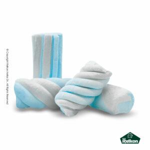 Marshmallows σε σχήμα κυλίνδρου και στρυφογυριστό σχέδιο σε χρώμα σιέλ και λευκό. Ιδανικά για παιδικά party, βάπτιση, candy bar και events.